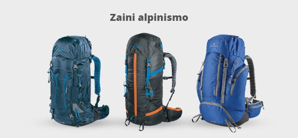 Immagine con tre zaini da alpinismo