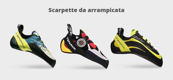 Immagine di tre scarpette per l'arrampicata