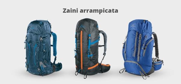 Immagine di tre zaini per l'arrampicata
